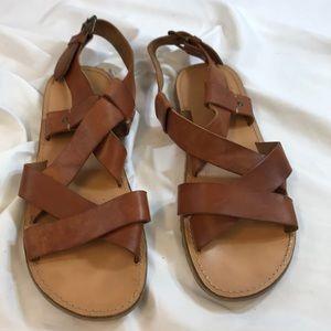 Men's Aldo Brown Leather Strap Sandals Size: 12